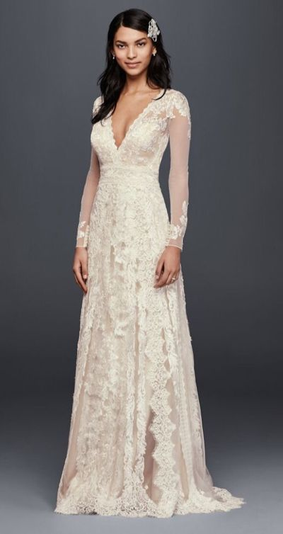 Long Sleeve Slit V Neck Lace Wedding Dress,Full Lace Bride Dress with Long Sleeves from Charming Dressy