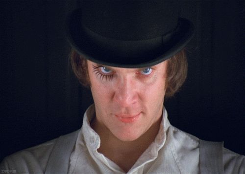"""There was me, that is Alex, and my three droogs, that is Pete, Georgie, and Dim, and we sat in the Korova Milkbar trying to make up our rassoodocks what to do with the evening.""
