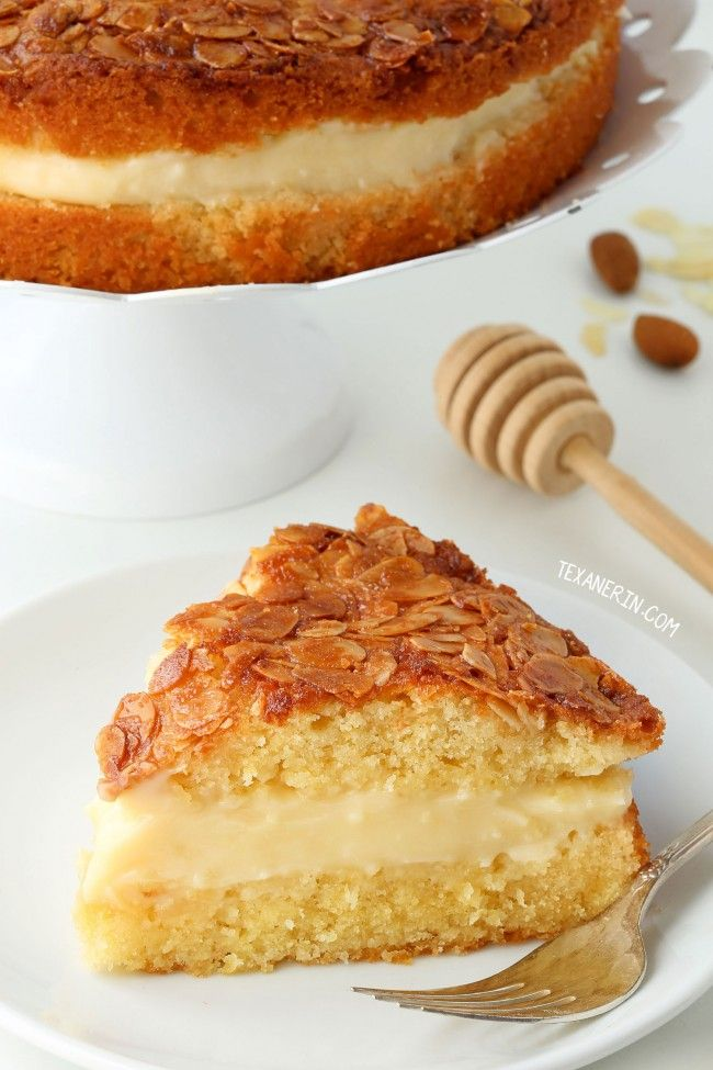 Bienenstich (Bee Sting Cake) – dairy-free and can be made with gluten-free, 100% whole grain or all-purpose flour.