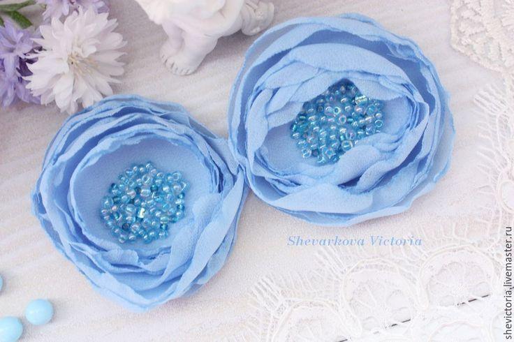"""Купить Заколка """"Цветы"""" нежно-голубая - голубой, заколка для волос, заколка с цветами, заколка"""