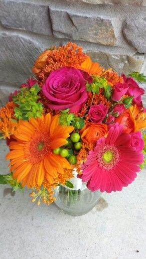 Pink and orange bouquet with Gerber daisies, roses, and butterfly weed #brides bouquet @ windy hill