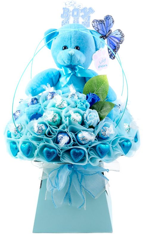 Love handmade gifts? Love chocolate? Love bouncing baby boys? . . . Then you will love this  Baby Boy Blue Chocolate Bouquet by The Chocolate Florist! Visit www.thechocolateflorist.co.uk to find out more about us.