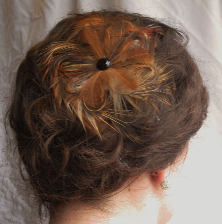 Burnt Orange Natural Feather Flower Fascinator, Clip, Hairband, Bridal, Graduation, Event, Hairpiece, Accessories by PeachesPlumageWorks on Etsy