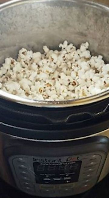 Instant Pot Popcorn.  It was good, but next time, we'll use less oil.  It doesn't need as much as the recipe calls for.