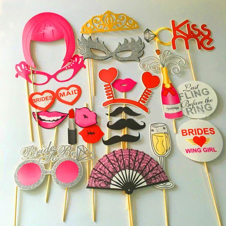 22Pcs Bachelorette Party Photo Booth Props Mustache Glasses Wedding Decoration