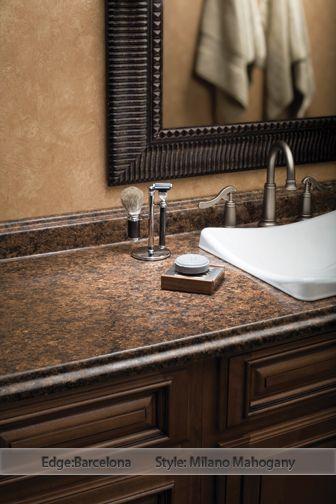 Wilsonart Laminate: Milano Mahogany - I think this is my bathroom counter. Like the wall and cabinet colors!!