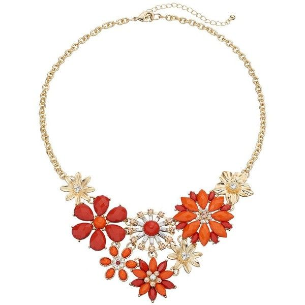 Orange & Peach Flower Statement Necklace ($20) ❤ liked on Polyvore featuring jewelry, necklaces, lt orange, bib statement necklace, gold jewellery, orange statement necklace, gold jewelry and flower jewelry