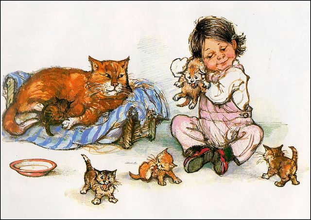 By Shirley Hughes. Me thinks the momma cat is not thrilled with all the kitty hugging. :)