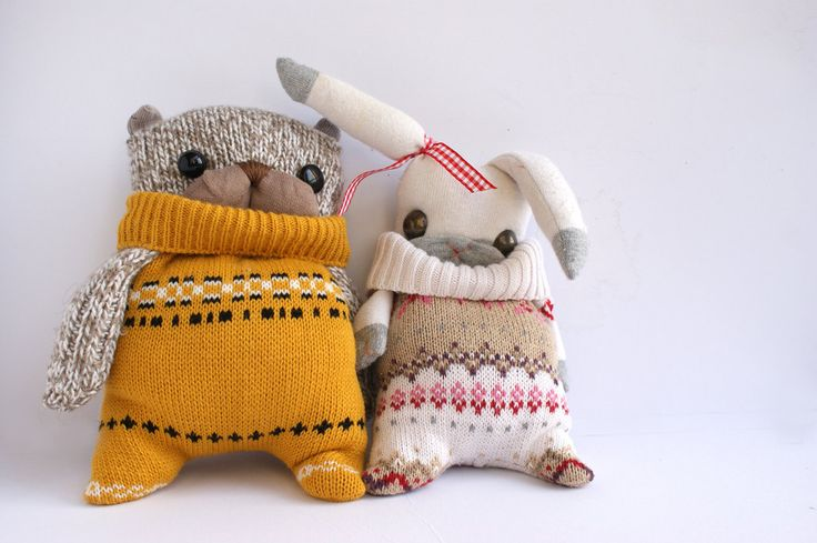 """Mr&Mrs """"Matching Jumpers"""" bunny rabbit plushies by little miss loolies   http://www.etsy.com/listing/90518465/mrmrs-matching-jumpers-bunny-rabbit"""