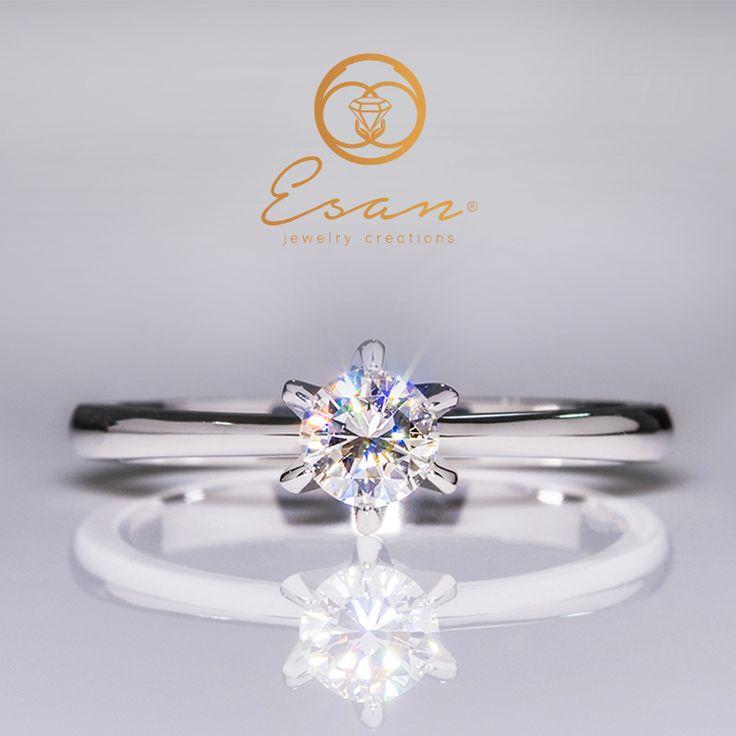 Inel de logodna din aur cu diamant model solitaire ES9