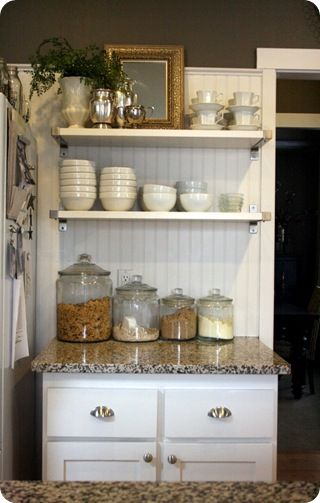 breakfast station (This makes me want to think about open shelving SOMEWHERE in the kitchen!)