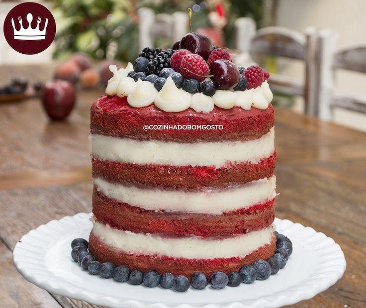 Bora fazer um NAKED CAKE RED VELVET!? *-* O recheio é de beijinho!
