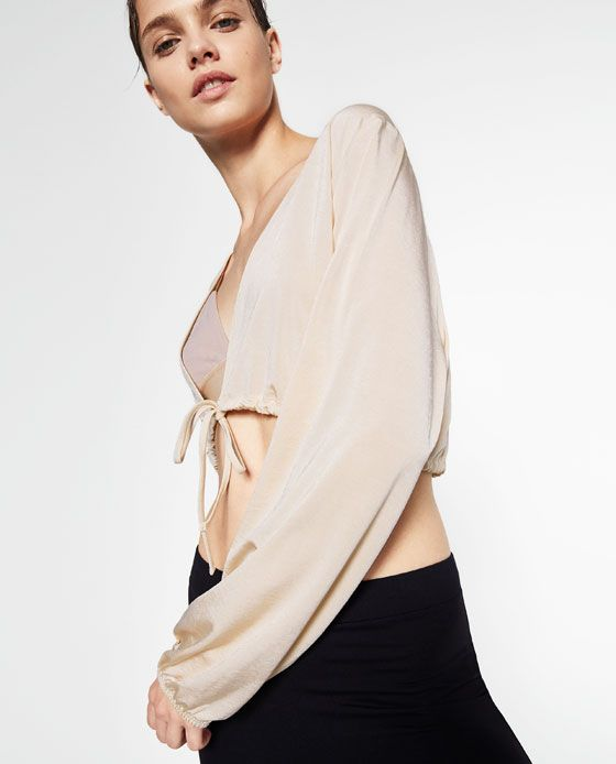 Image 2 of CROPPED TIE-UP JACKET from Zara