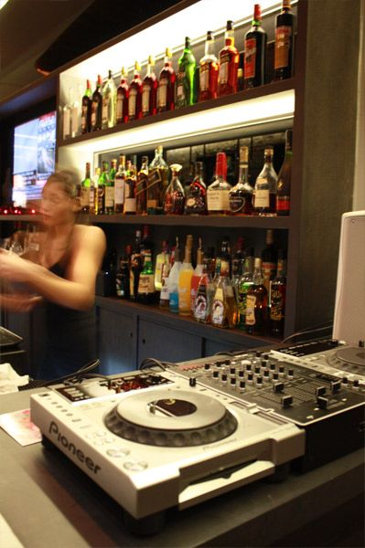 The DJ station at the end of the bar spins music from 9 p.m. to 2 a.m. on Fridays and Saturdays