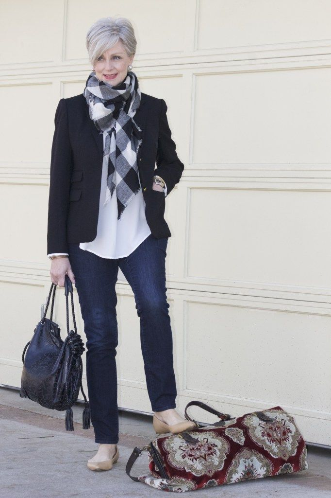 Blazer, Scarf, Blouse and Jeans another perfect outfit