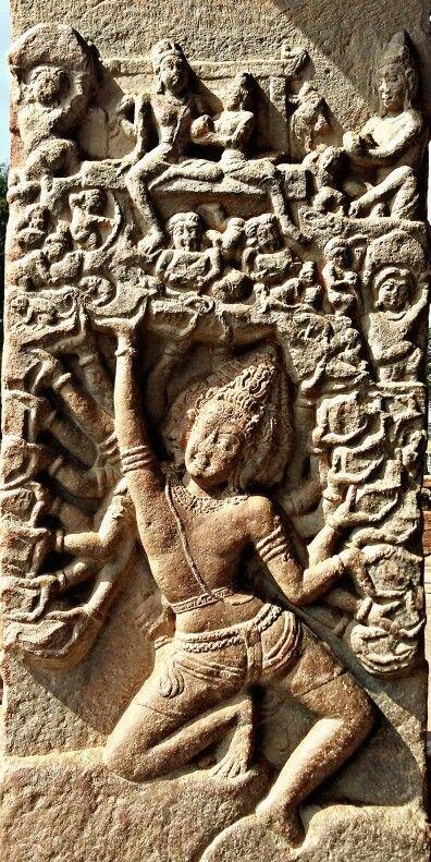 """Ravan Lifts the Kailash Mountain. "" Virupaksha Temple. Pattadakal. Chalukya Dynasty. 8th Century CE. Karnataka, India."