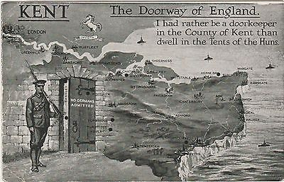 World War I Postcard Kent Doorway To England - No Germans Admitted
