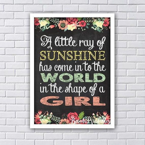 Little Ray of Sunshine Print Blackboard Print Sunshine Art