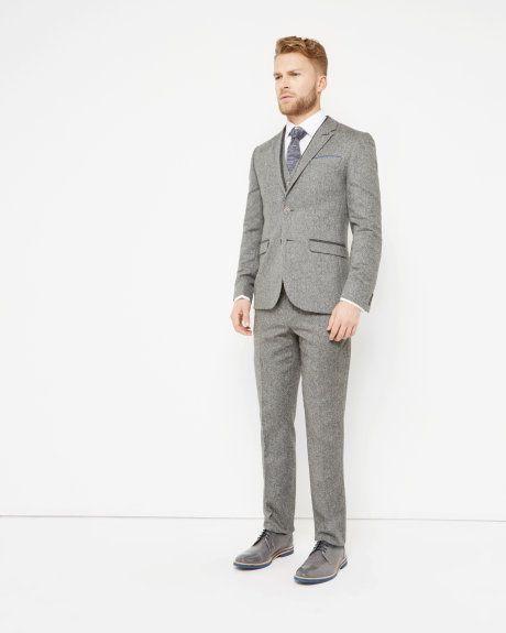 Herringbone trousers - Grey | Trousers | Ted Baker UK