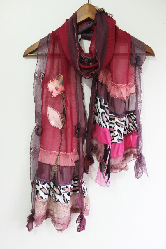 Wine colored scarf Bordeaux linen scarves by Nazcolleccolors