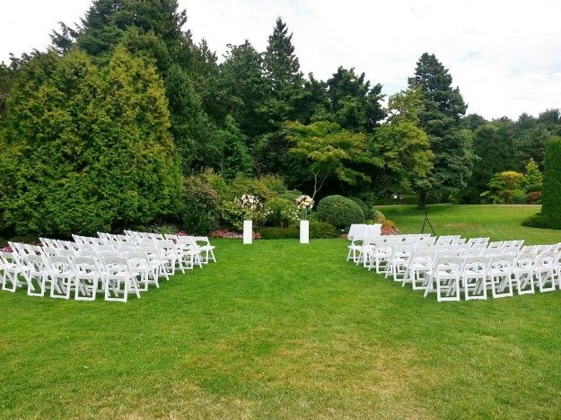 semi-circular evening ceremony set-up facing the pond at Cecil Green Park House - http://cecilgreenpark.ubc.ca/2013/chantal-and-stefan/