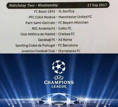 Las fechas y horarios de todos los partidos que disfrutaremos en la fase de grupos de la UEFA Champions League 2017/18.