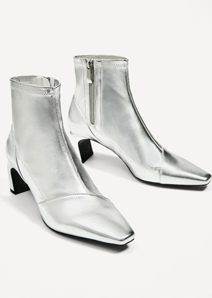 Shop @zaraofficial's latest spring-ready footwear trends via @STYLECASTER | Zara Metallic High Heel Ankle Boots, $69.90