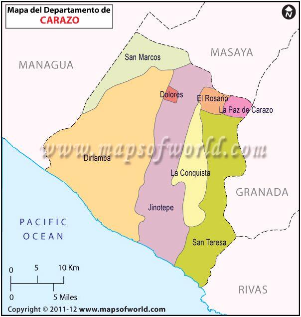 Mapa del Departamento de Carazo
