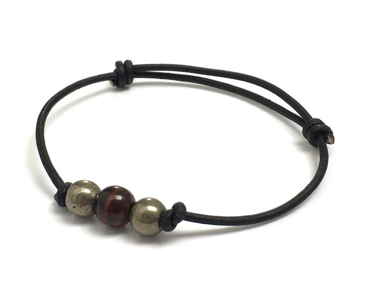 Strength. Energy. Protection. Pyrites, Tiger's Eye Leather Bracelet.