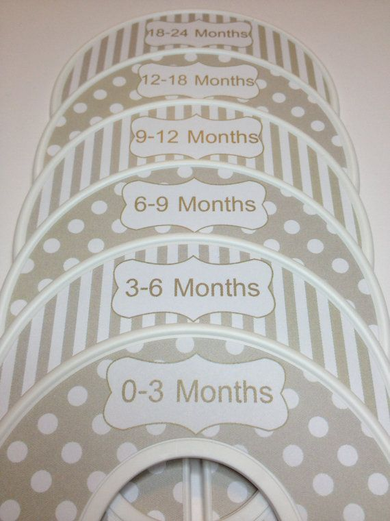 6 Custom Baby Closet Clothes Dividers Organizers in Modern Tan White Dots and Stripes Boy Girl Baby Shower Nursery Gift