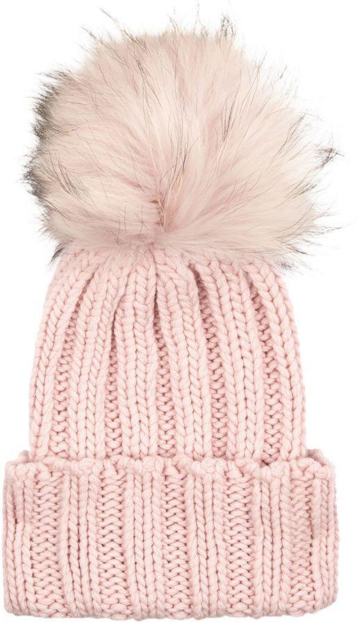 Inverni Pink Cashmere Fur Bobble Hat