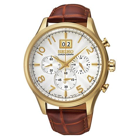 Buy Seiko SPC088P1 Men's Neo Classic Leather Strap Chronograph Watch, Gold / Brown Online at johnlewis.com