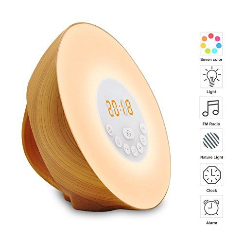 Wood Grain Alarm Clock with Sunrise Sunset Simulation&FM Clock Radio&6 Nature Sounds&7 Colors Night Light&Snooze Functions Bedroom Alarm clock for Kids Teens Adults
