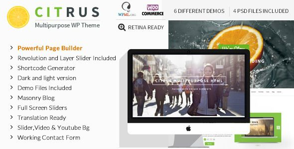 ThemeForest Citrus v1.7 Creative One Page Multi-Purpose Nulled WordPress Theme