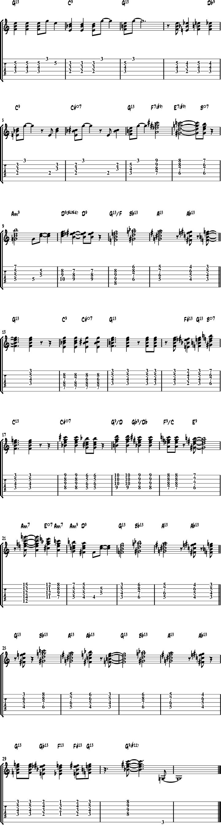 Jazz blues guitar chords comping exercise