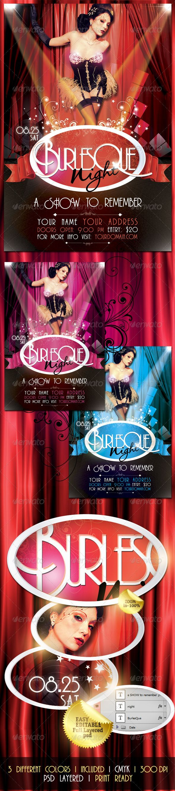 Burlesque Night Flyer Template / $6. *** This flyer/poster is perfect for promoting any type of event such as cabarets, theaters, showtime, burlesque spectacles or whatever you want!. ***