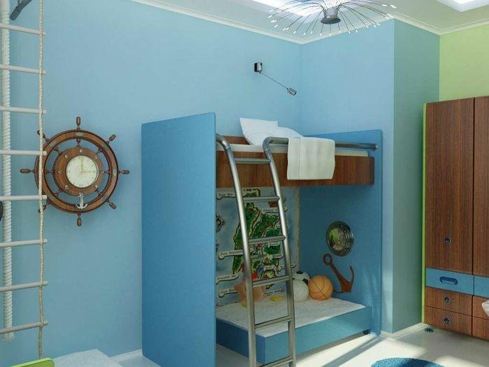 New kompaktes Piraten Kinderzimmer mit blaues Bett und Schrank aus Holz Uhr wie Steuerrad Strickleiter