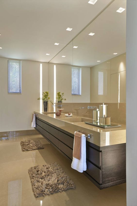 Handle the situation with a beautiful atmosphere in the bathroom  #Bathroom #Interiors