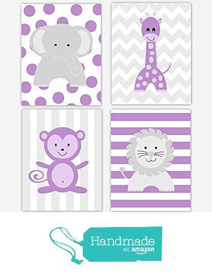 Baby Girl Nursery Wall Art Purple Lavender Gray Elephant Giraffe Lion Monkey Safari Jungle Zoo Animals Chevron Baby Nursery Decor SET OF 4 UNFRAMED PRINTS from Dezignerheart Designs https://www.amazon.com/dp/B01B85D4MQ/ref=hnd_sw_r_pi_dp_7Y4NxbX2A0N4T #handmadeatamazon