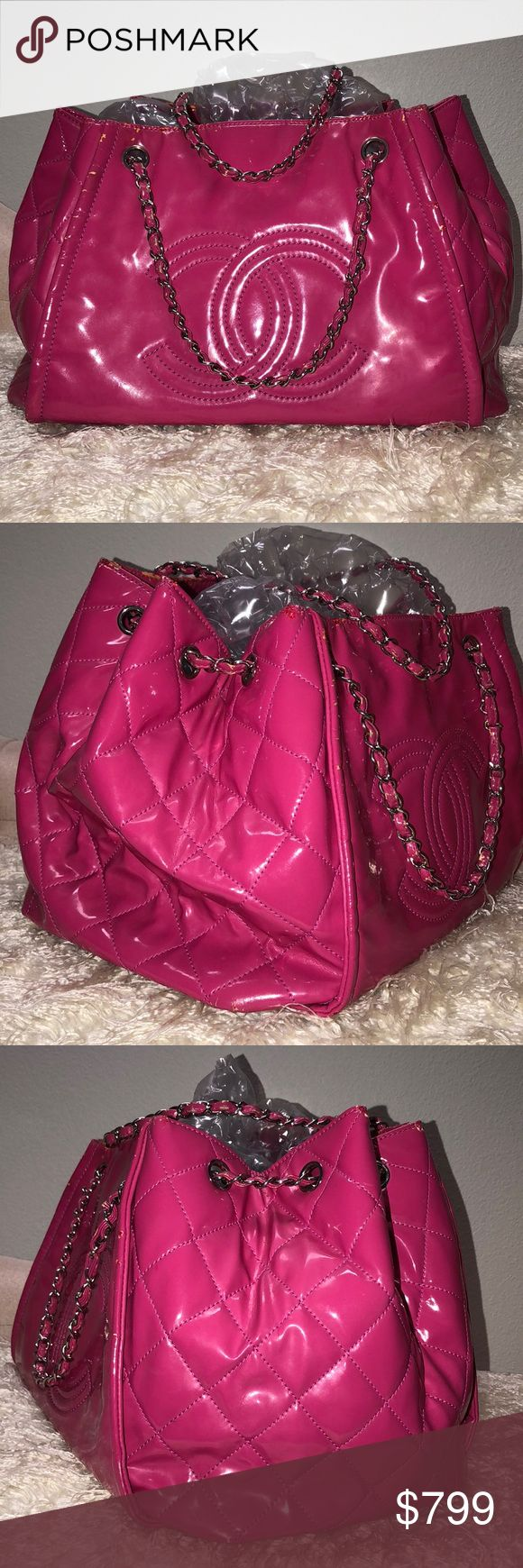 CHANEL PINK SHOULDER BAG CROSSBODY 100% AUTHENTIC. IT IS VINTAGE AND USED, SO PLEASE EXPECT WEAR AND TEAR. I SAW ONE LIKE THIS ON EBAY FOR $999. IT IS ROOMY AND GORGEOUS. THE OPEN BUTTON DOESN'T CLOSE, SINCE ONE PART OF THE CLOUSURE IS MISSING. PLEASE PAY OVER $500 AND POSHMARK WILL VERIFY THE AUTHENTICITY FOR FREE. NO TRADES! CHANEL Bags Shoulder Bags