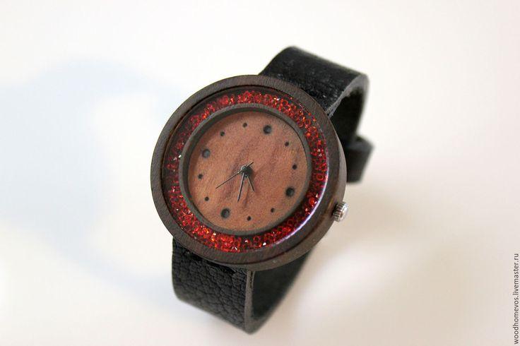 Купить Наручные часы из дерева (бубинга) - комбинированный, бубинго, красный цвет, черный цвет, часы
