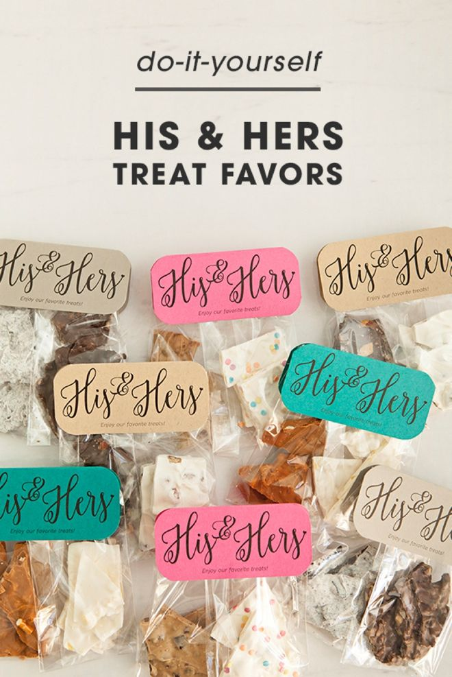 Personalize wedding favors and leave your sweet-toothed guests satisfied. This DIY chocolate bark favor tutorial from Something Turquoise can be mixed-and-matched with different flavors and only takes minutes per batch! Click in for the complete tutorial.