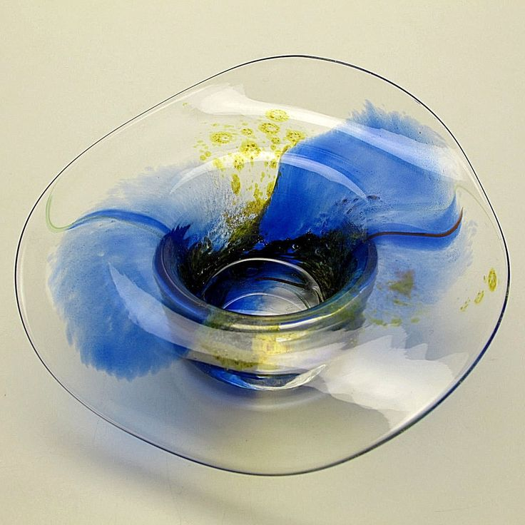 """Signed Blown Art Glass Unique Bowl Lillehammer Norway Flowing 2"""" Rim Tri-Color 