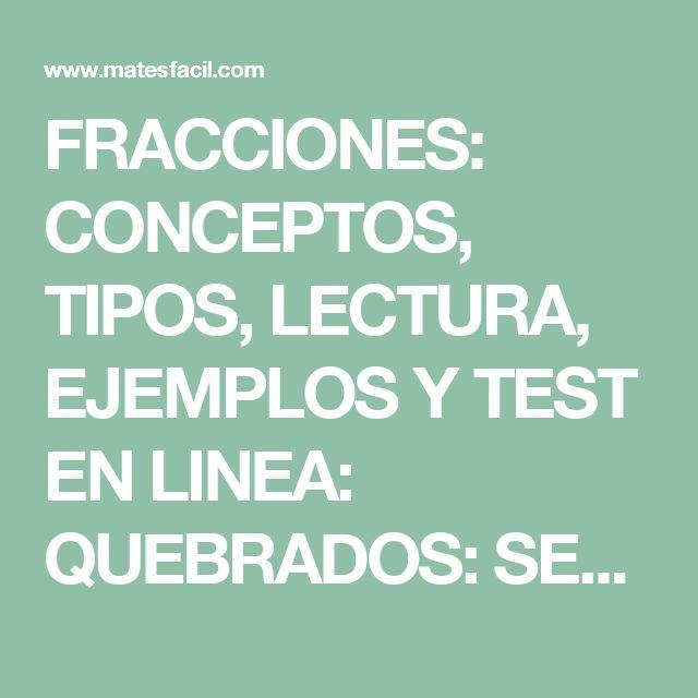 FRACCIONES: CONCEPTOS, TIPOS, LECTURA, EJEMPLOS Y TEST EN LINEA: QUEBRADOS: SECUNDARIA, ESO