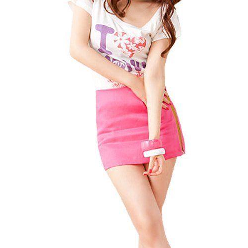 Allegra K Woman Fuchsia Sides Zip Fly Square Pocket Mini Skirt S Allegra K. $8.44