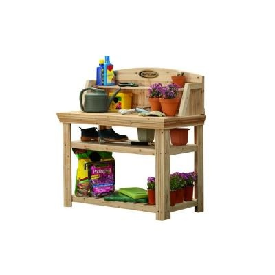 """Cedar Potting stand, 46""""X 24"""" X 49 1/4"""". $199.00 Nice Selves. I could just use sawhorses with an old door laid across. Not as cute though."""