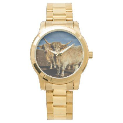 Fawn Coloured Highland Cows Watch - accessories accessory gift idea stylish unique custom