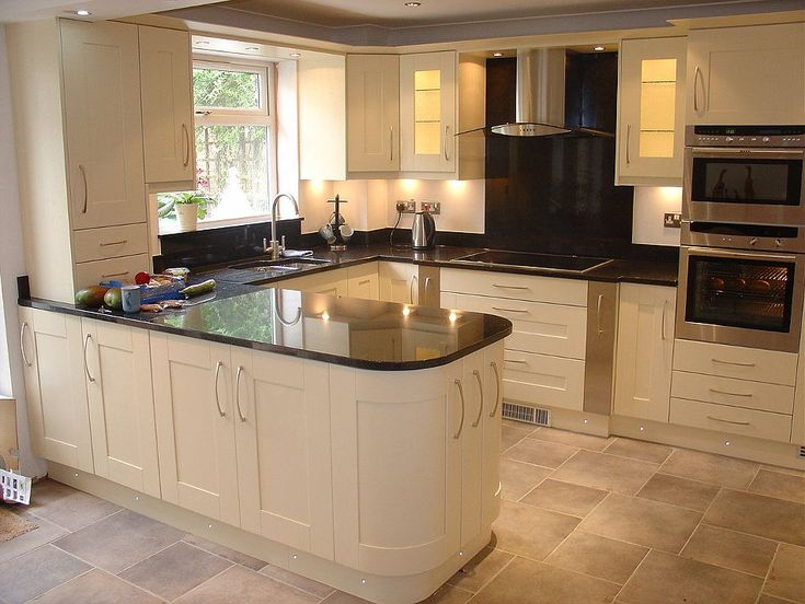 Painted Ivory solid wood kitchen cabinets, l shaped island