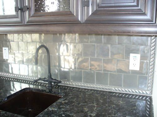 Glass Kitchen Backsplash Tile Ideas Njoy This Is A Fab Look In A Gray Kitchen With Stainless Appliances