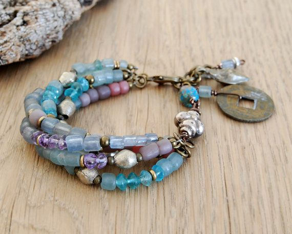 bohemian bracelet - ethnic bracelet - gypsy jewelry - boho bracelet with I ching coin and kuchi charms - blue lilac silver on Etsy, $63.00